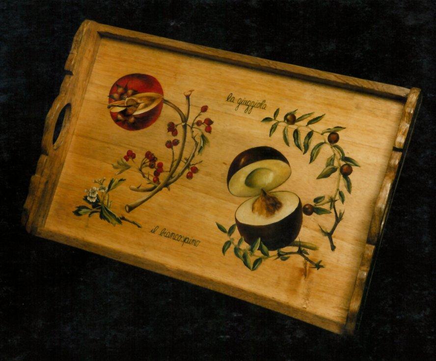 Vassoio dipinto in legno
