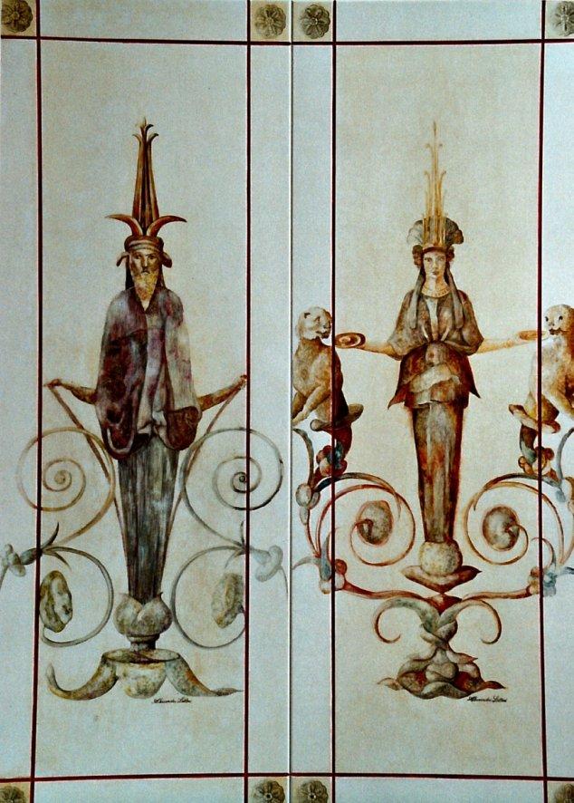 Decori su legno, cariatidi dipinte su armadio