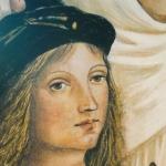 Particolare ritratto di Raffaello Sanzio in Ante di legno dipinte