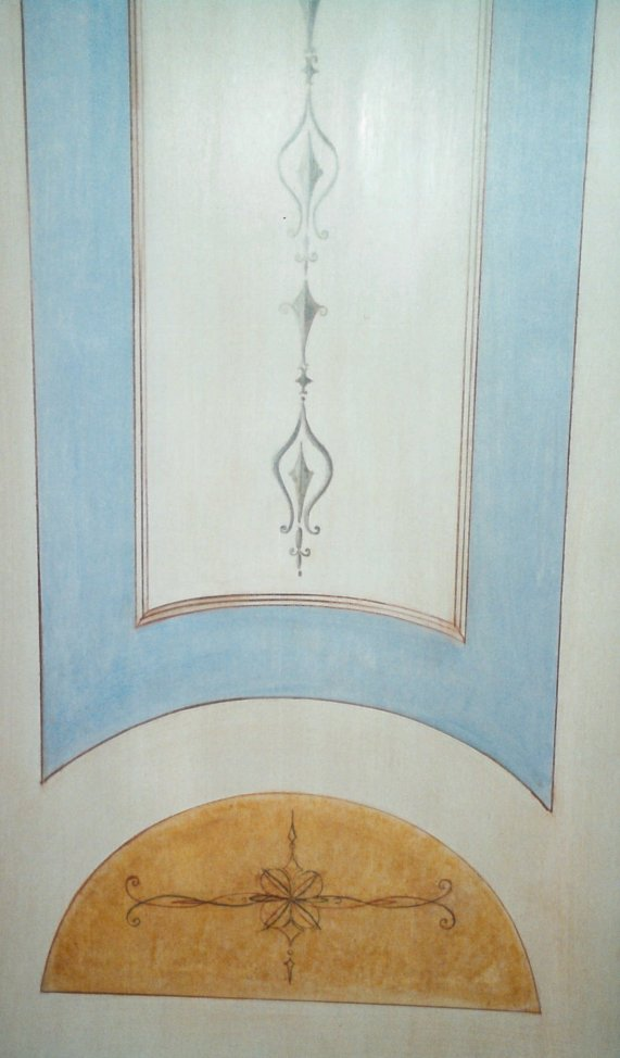 Particolare di porte in legno dipinte in stile pompeiano