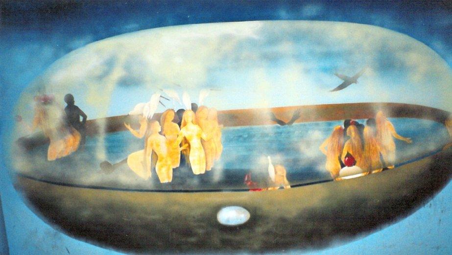 Pittura su muro: inferno, purgatorio e paradiso