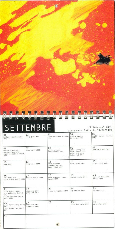Calendario perpetuo rock di Piero Pelù - mese di Settembre